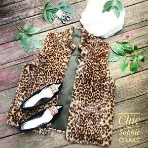Guess Faux Fur Leopard Animal Print Vest